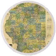 Antique Map Of Indianapolis By The Parry Mfg Company - Historical Map Round Beach Towel