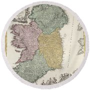 Antique Map Of Ireland Showing The Provinces Round Beach Towel by Johann Baptist Homann