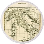 Antique Map Of Italy Round Beach Towel