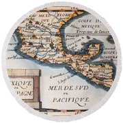 Antique Map Of Mexico Or New Spain Round Beach Towel by French School
