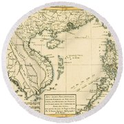 Antique Map Of South East Asia Round Beach Towel