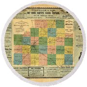 Antique Map Of The Mclean County - Business Advertisements - Historical Map Round Beach Towel