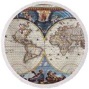 Antique Maps Of The World Joan Blaeu C 1662 Round Beach Towel