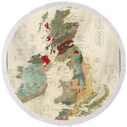 Antique Maps - Old Cartographic Maps - Antique Geological Map Of The British Islands Round Beach Towel