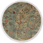 Antique Maps - Old Cartographic Maps - Antique Map Of Scandinavia In Latin, 1539 Round Beach Towel