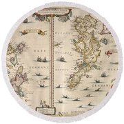 Antique Maps - Old Cartographic Maps - Antique Map Of Schetland And Orkney Islands - Scotland,1654 Round Beach Towel