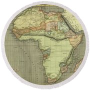 Antique Maps - Old Cartographic Maps - Antique Map Of Africa Round Beach Towel