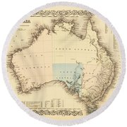 Antique Maps - Old Cartographic Maps - Antique Map Of Australia Round Beach Towel