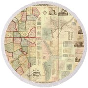 Antique Maps - Old Cartographic Maps - Antique Map Of Lawrence And Beaver Counties, 1860 Round Beach Towel