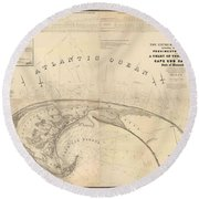 Antique Maps - Old Cartographic Maps - Antique Map Of Cape Cod, Massachusetts, 1836 Round Beach Towel