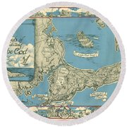 Antique Maps - Old Cartographic Maps - Antique Map Of Cape Cod, Massachusetts, 1945 Round Beach Towel