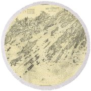 Antique Maps - Old Cartographic Maps - Antique Map Of Casco Bay, Maine, 1870 Round Beach Towel