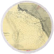 Antique Maps - Old Cartographic Maps - Antique Map Of Lompoc Landing, California, 1888 Round Beach Towel