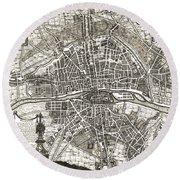 Antique Maps - Old Cartographic Maps - Antique Map Of Paris, France, 1643 Round Beach Towel
