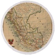 Antique Maps - Old Cartographic Maps - Antique Map Of Peru, South America, 1913 Round Beach Towel