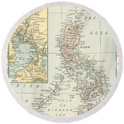 Antique Maps - Old Cartographic Maps - Antique Map Of Philippine Islands And Manila Bay, 1898 Round Beach Towel