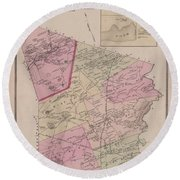 Antique Maps - Old Cartographic Maps - Antique Map Of Sudbury, Canada, 1875 Round Beach Towel