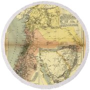 Antique Maps - Old Cartographic Maps - Antique Map Of Syria, 1884 Round Beach Towel