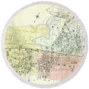 Antique Maps - Old Cartographic Maps - Antique Map Of The City Of Chester, England, 1870 Round Beach Towel