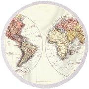 Antique Maps - Old Cartographic Maps - Antique Map Of The Eastern And Western Hemisphere, 1850 Round Beach Towel