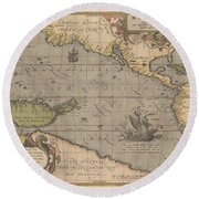 Antique Maps - Old Cartographic Maps - Antique Map Of The Pacific Ocean - Mar Del Zur, 1589 Round Beach Towel