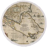 Antique Maps - Old Cartographic Maps - Antique Map Of The Strait Of Magellan, South America, 1635 Round Beach Towel