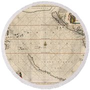 Antique Maps - Old Cartographic Maps - Antique Map Of The Strait Of Magellan, South America, 1650 Round Beach Towel