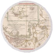 Antique Maps - Old Cartographic Maps - Antique Map Of The Strait Of Magellan, South America, 1787 Round Beach Towel