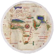Antique Maps - Old Cartographic Maps - Antique Map Of The World, 1502 Round Beach Towel