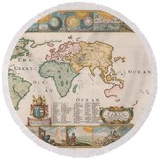 Antique Maps - Old Cartographic Maps - Antique Map Of The World Round Beach Towel