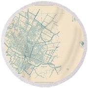 Antique Maps - Old Cartographic Maps - Antique Map Of Travis County, Texas, 1936 Round Beach Towel