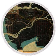 Antique Maps - Old Cartographic Maps - Antique Map Of Vancouver, New Westminster, Steveston Round Beach Towel