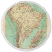 Antique Maps - Old Cartographic Maps - Antique Russian Map Of South America Round Beach Towel