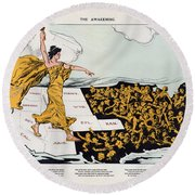 Antique Map Of The United States Of America - The Spirit Of Liberty - The Awakening, 1915 Round Beach Towel
