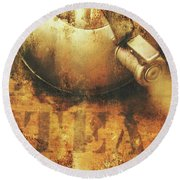 Antique Old Tea Metal Sign. Rusted Drinks Artwork Round Beach Towel