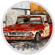 Antique Old Truck Painting Round Beach Towel