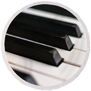 Antique Piano Keys Round Beach Towel