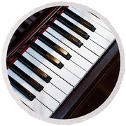 Antique Piano Keys From Above With Hardwood Floor Round Beach Towel