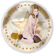 Antique Pin-up Girl On Missile. Bombshell Blond Round Beach Towel