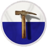 Antique Plumb Masonry Hammer On Color Paper Round Beach Towel