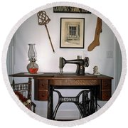 antique Singer sewing machine with treadle Round Beach Towel