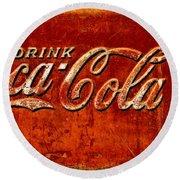 Antique Soda Cooler 3 Round Beach Towel