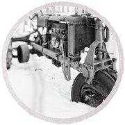 Antique Steel Wheel Tractor Black And White Round Beach Towel