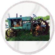 Antique Tractor 1 Round Beach Towel