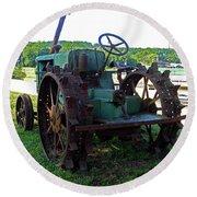 Antique Tractor 2 Round Beach Towel