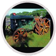 Antique Tractor 3 Round Beach Towel