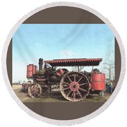 Antique Tractor - Rollag, Minnesota Round Beach Towel