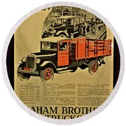 Antique Truck Poster Round Beach Towel