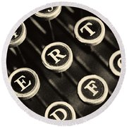 Antique Typewriter Keys Detail Round Beach Towel