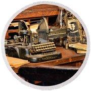 Antique Typewriter Round Beach Towel by Paul Ward
